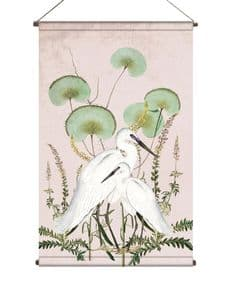 BohoandCo White Egrets wallhanging - vintage blush
